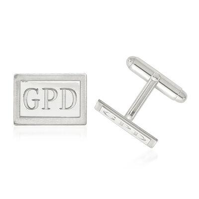 Sterling Silver Laser Design Recessed Letters Rectangle Monogram Cuff Links, , default