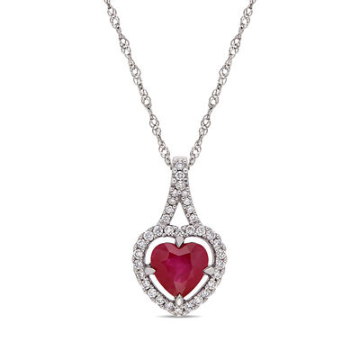 1.00 Carat Ruby and .15 ct. t.w. Diamond Heart Pendant Necklace in 14kt White Gold