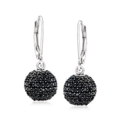 1.70 ct. t.w. Black Spinel Ball Drop Earrings in Sterling Silver