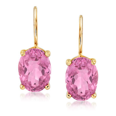 3.10 ct. t.w. Pink Topaz Drop Earrings in 14kt Yellow Gold