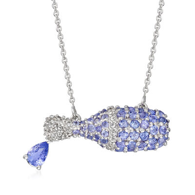 2.95 ct. t.w. Blue Tanzanite and 1.00 ct. t.w. White Topaz Wine Bottle Necklace in Sterling Silver