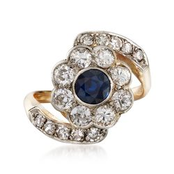 C. 1950 Vintage .55 Carat Sapphire and 1.25 ct. t.w. Diamond Floral Ring in Platinum and 14kt Yellow Gold. Size 5.75, , default