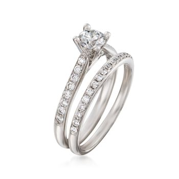.84 ct. t.w. Diamond Bridal Set: Engagement and Wedding Rings in 14kt White Gold. Size 7, , default