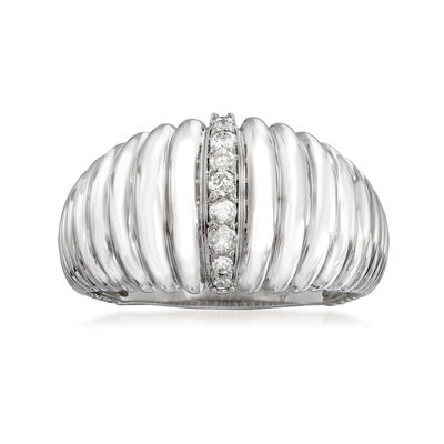 .15 ct. t.w. Diamond Shell Ring in Sterling Silver, , default