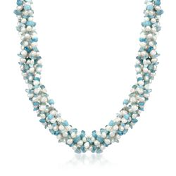 "Aquamarine Bead and 5-6mm Cultured Pearl Torsade Necklace With Sterling Silver. 18"", , default"