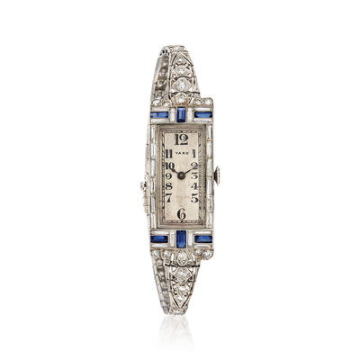 C. 1930 Vintage Women's 2.80 ct. t.w. Diamond and .90 ct. t.w. Sapphire 15mm Manual Watch in Platinum, , default