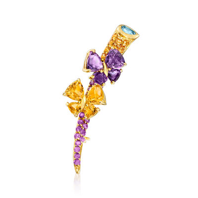 4.90 ct. t.w. Multi-Gemstone Butterfly Pin in 14kt Yellow Gold, , default