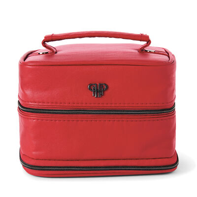 Red Faux Leather Jewelry Case with Striped Interior, , default