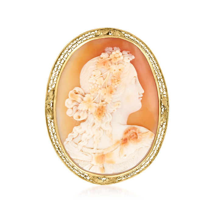C. 1940 Vintage Carved Peach Shell Cameo Pin/Pendant in 14kt Yellow Gold