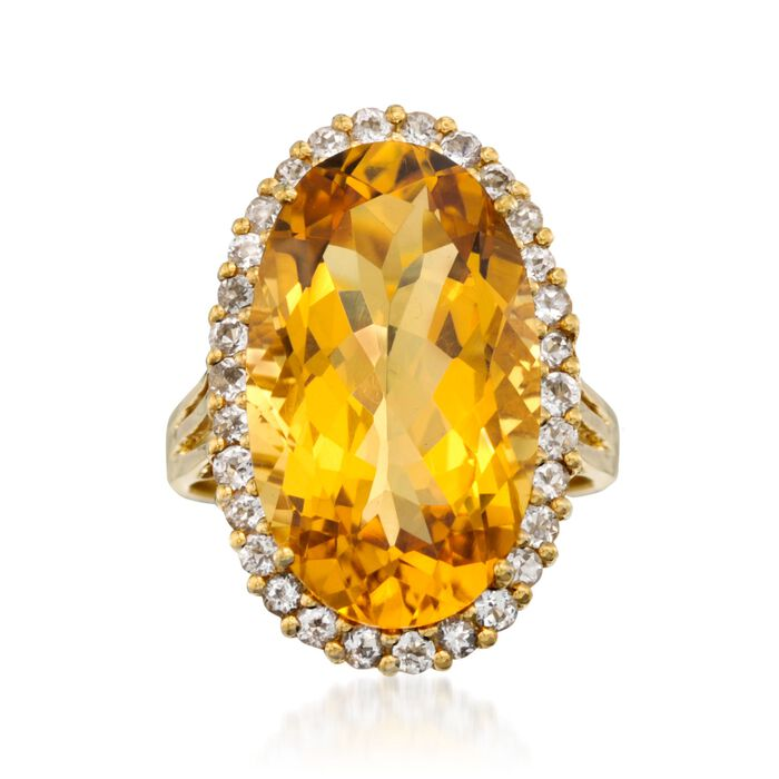 11.90 Carat Citrine and .95 ct. t.w. White Topaz Ring in 14kt Gold Over Sterling Silver