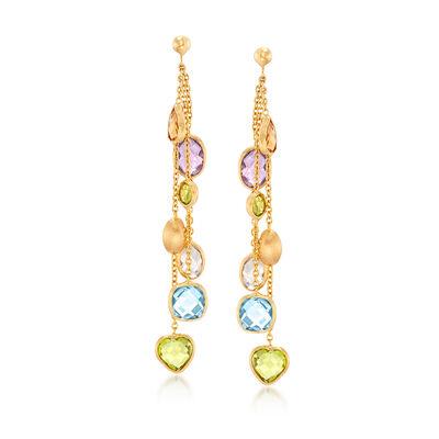 Italian 7.50 ct. t.w. Multi-Stone Drop Earrings in 14kt Yellow Gold, , default