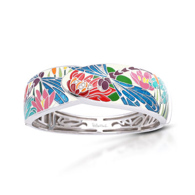 "Belle Etoile ""Dragonfly"" Ivory and Blue Enamel Bangle Bracelet with .13 ct. t.w. CZs in Sterling Silver"