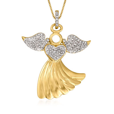 .25 ct. t.w. Diamond Angel Pendant Necklace in 18kt Gold Over Sterling