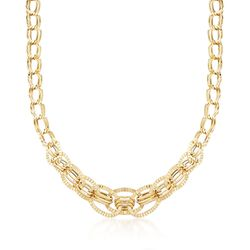 Italian 18kt Yellow Gold Oval Link Necklace, , default