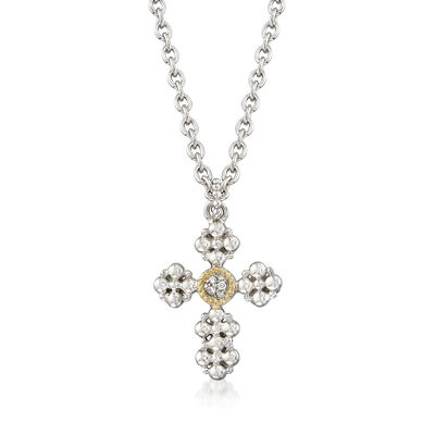 "Andrea Candela ""Cava"" Sterling Silver and 18kt Yellow Gold Cross Pendant Necklace with Diamond Accents"