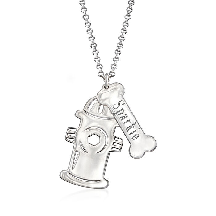 Personalized Fire Hydrant Charm Necklace in Sterling Silver, , default