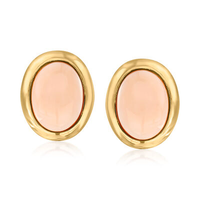 C. 1970 Vintage Angel Skin Pink Coral Earrings in 14kt Yellow Gold