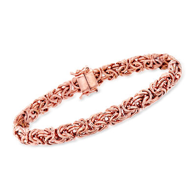 18kt Rose Gold Over Sterling Silver Byzantine Bracelet with Magnetic Clasp