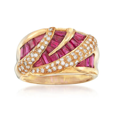 C. 1990 Vintage 2.86 ct. t.w. Ruby and .34 ct. t.w. Diamond Zigzag Ring in 18kt Yellow Gold, , default
