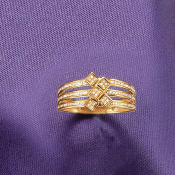 .15 ct. t.w. Pave Diamond Square Cluster Ring in 14kt Yellow Gold, , default