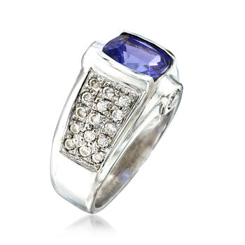 C. 1980 Vintage 2.70 ct. t.w. Tanzanite and 1.70 ct. t.w. Diamond Ring in 14kt White Gold. Size 6.5