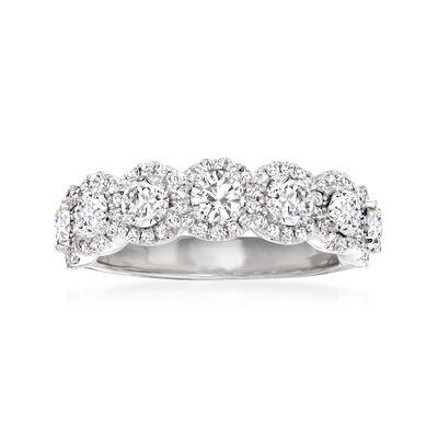 Henri Daussi 1.45 ct. t.w. Diamond Halo Ring in 18kt White Gold