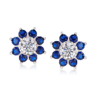 3.20 ct. t.w. CZ and Synthetic Spinel Earrings in Sterling Silver