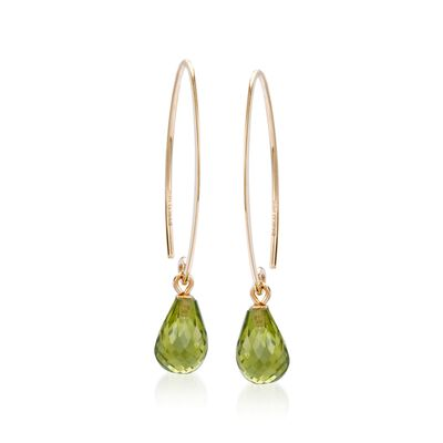 4.80 ct. t.w. Peridot Briolette Drop Earrings in 14kt Yellow Gold, , default