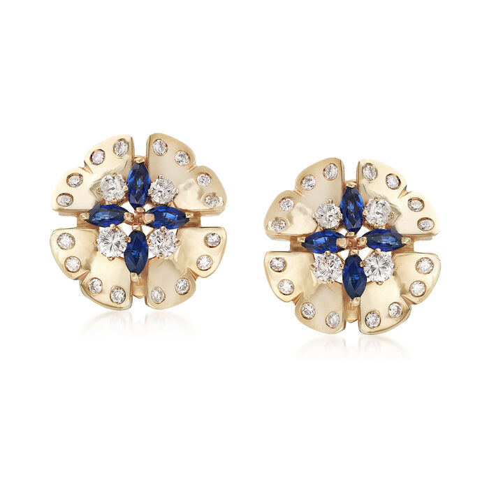 C. 1980 Vintage 2.40 ct. t.w. Sapphire and 2.00 ct. t.w. Diamond Floral Earrings in 14kt Yellow Gold, , default