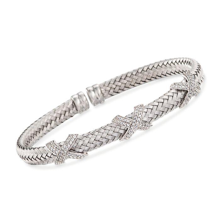 """Charles Garnier """"Asolo"""" 1.20 ct. t.w. CZ Cuff Bracelet in Sterling Silver. 7"""""""