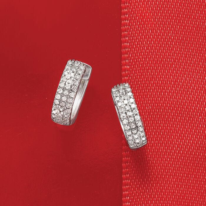.14 ct. t.w. Diamond Huggie Hoop Earrings in 14kt White Gold