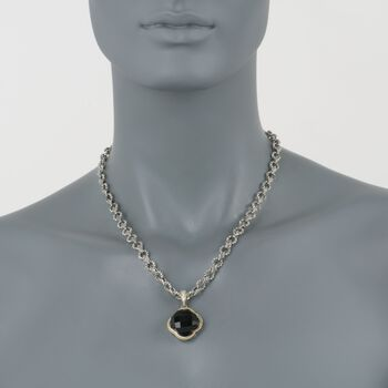 """Andrea Candela Black Onyx Clover Pendant Necklace with Diamonds in Two-Tone. 17"""""""