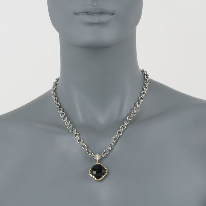 """Andrea Candela Black Onyx Clover Pendant Necklace with Diamonds in Two-Tone. 17"""", , default"""