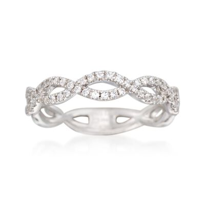 Simon G. .33 ct. t.w. Diamond Twisted Wedding Ring in 18kt White Gold, , default