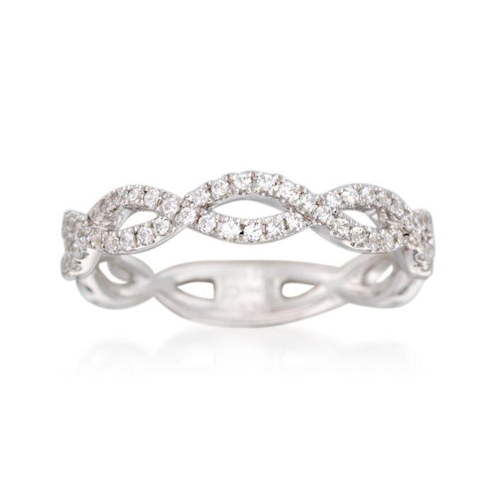 Simon G. .33 ct. t.w. Diamond Twisted Wedding Ring in 18kt White Gold