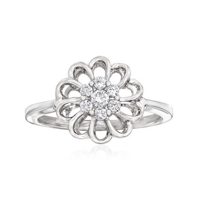 C. 1990 Vintage Giantti .22 ct. t.w. Diamond Flower Ring in 18kt White Gold, , default