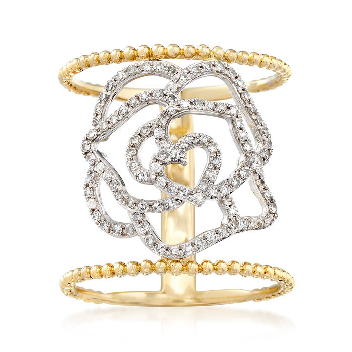 .40 ct. t.w. Diamond Openwork Floral Ring in 14kt Two-Tone Gold