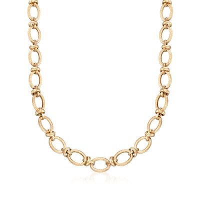 14kt Yellow Gold Knotted Link Necklace, , default
