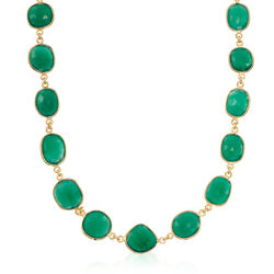 Green Onyx Necklace in 14kt Gold Over Sterling Silver, , default