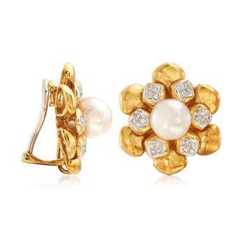 C. 1980 Vintage 9mm Cultured Pearl and .75 ct. t.w. Diamond Flower Clip-On Earrings in 18kt Yellow Gold