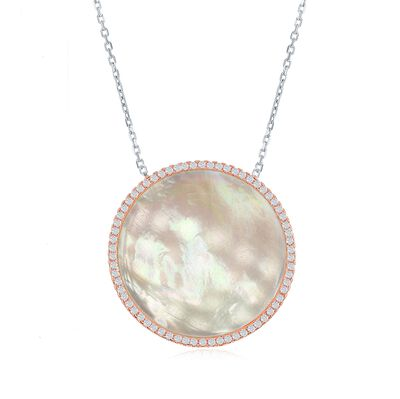 Mother-Of-Pearl and .50 ct. t.w. CZ Circle Necklace in Two-Tone Sterling Silver, , default