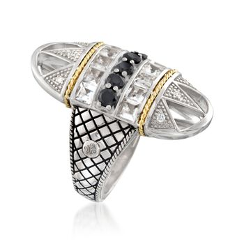 "Andrea Candela ""Art Deco"" 1.60 ct. t.w. White Topaz and Black Spinel Ring With Diamonds in Sterling Silver, , default"