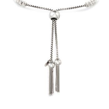 Italian Sterling Silver Beaded Bolo Bracelet, , default