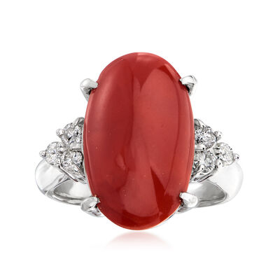 C. 1970 Vintage Red Coral and .35 ct. t.w. Diamond Ring in Platinum