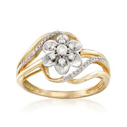 .23 ct. t.w. Diamond Floral Bypass Ring in 14kt Two-Tone Gold, , default