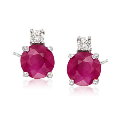 1.20 ct. t.w. Ruby Stud Earrings with Diamond Accents in 14kt White Gold, , default