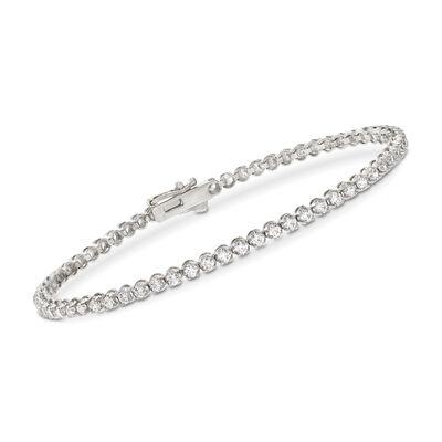 2.00 ct. t.w. CZ Tennis Bracelet in 14kt White Gold, , default