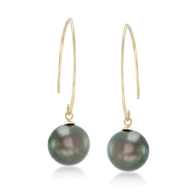 11mm Black Cultured Pearl Tahitian Pearl Drop Earrings in 14kt Yellow Gold, , default