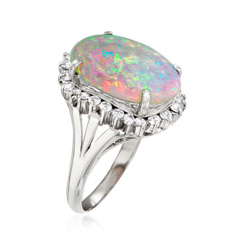 C. 1980 Vintage Opal and .50 ct. t.w. Diamond Ring in Platinum. Size 6