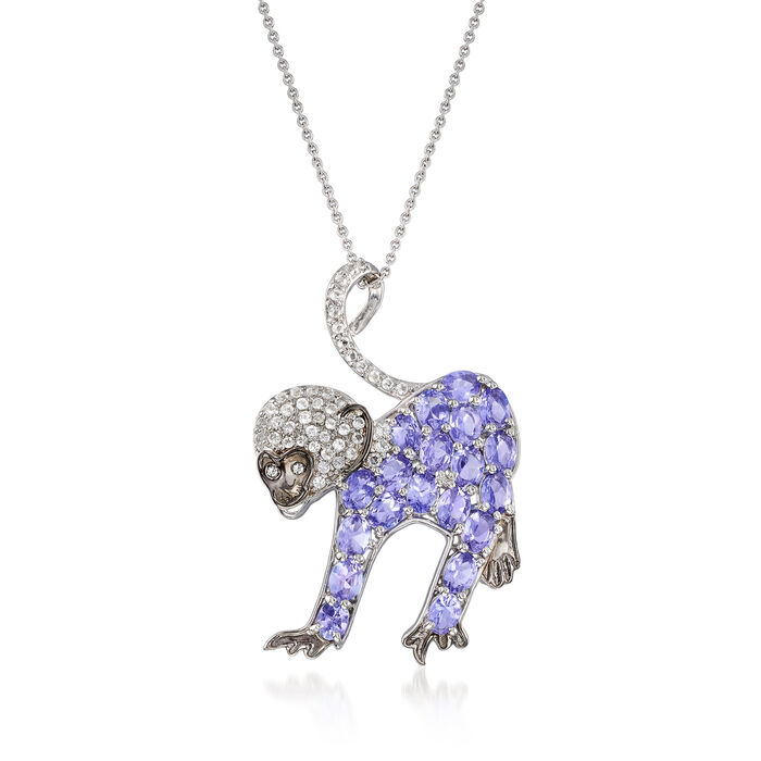 3.50 ct. t.w. Tanzanite and .60 ct. t.w. White Topaz Monkey Pendant Necklace in Sterling Silver. 18""